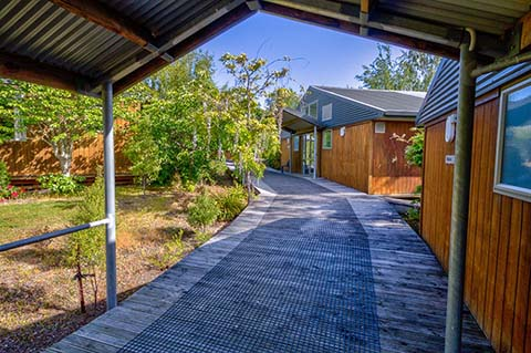 Walkway decking area at West Arm lodge